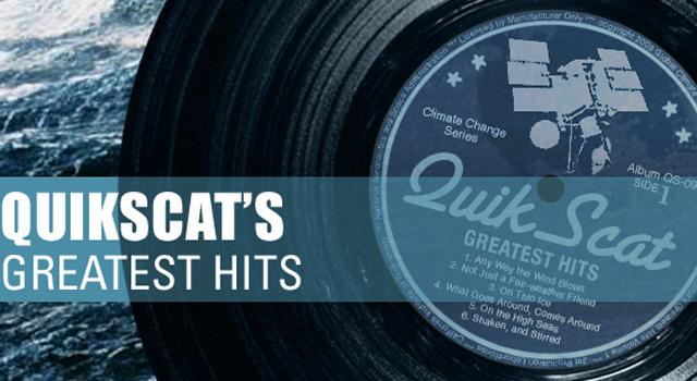 QuikScat vinyl record illustrating its greatest hits
