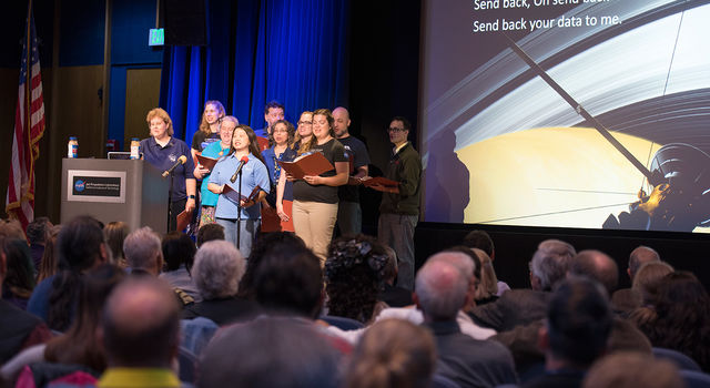 Cassini Virtual Singers performed space-centric parody versions of popular tunes