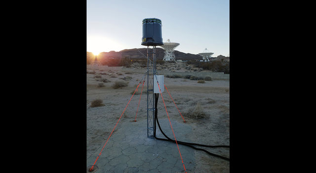 Astronomical Radio Emission 2 (STARE2) array is shown here at the Goldstone Deep Space Communications Complex in California's Mojave Desert
