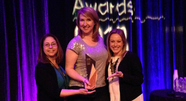 Veronica McGregor, Stephanie Smith and Courtney O'Connor of JPL accepted the SXSW Interactive Social Media Award.