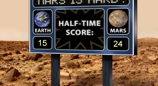 This artist's scoreboard displays a fictional game between Mars and Earth, with Mars in the lead.