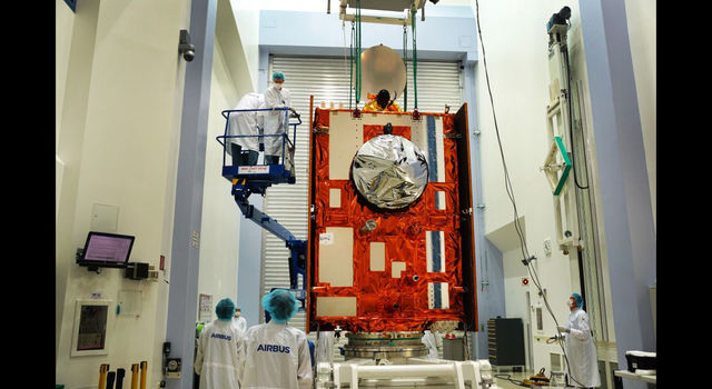 The Sentinel-6 Michael Freilich satellite sits in front of a testing chamber
