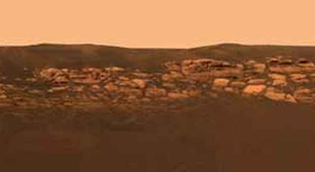 Rock outcrop at the Opportunity landing site.