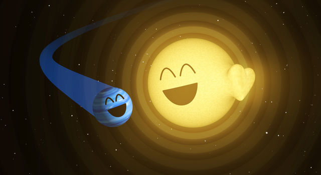 This illustration shows how the planet HAT-P-2b, left, appears to cause heartbeat-like pulsations in its host star, HAT-P-2.