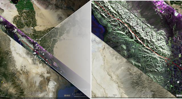 False-color composite polarimetric image over the central part of the fault ruptures