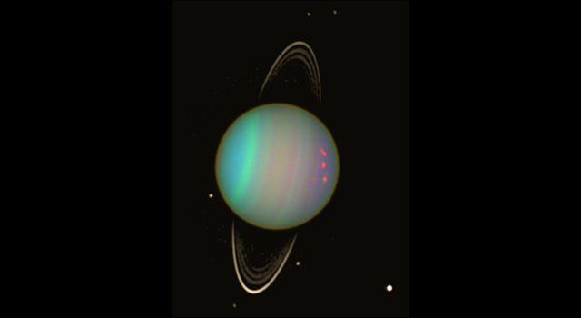 Uranus is seen in this false-color view from NASA's Hubble Space Telescope from August 2003.