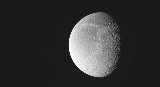 NASA's Cassini spacecraft obtained this image of Saturn's moon Dione on Sept. 3, 2010.