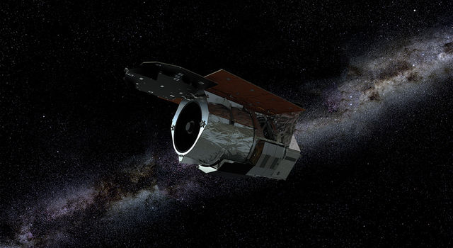 An artist's rendering of NASA's Wide Field Infrared Survey Telescope (WFIRST)