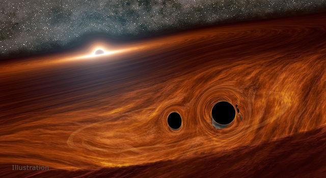 Artist's concept shows a supermassive black hole