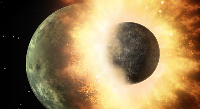 This artist's concept shows a celestial body about the size of our moon slamming at great speed into a body the size of Mercury.