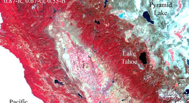 Advanced Along-Track Scanning Radiometer (AATSR) image of the Lake Tahoe, Calif./Nev. region, acquired Sept. 25, 2002.