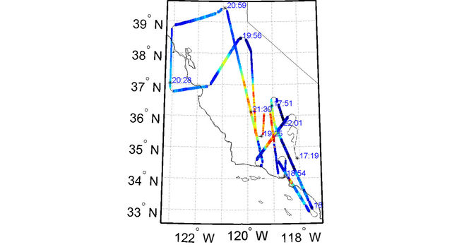 ER-2 flight track color coded by aerosol amount for flight