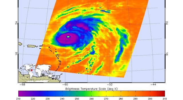 Infrared image of Hurricane Bill, acquired from the Atmospheric Infrared Sounder instrument on NASA's Aqua spacecraft.