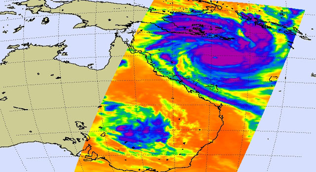 AIRS infrared image of Tropical Cyclone Yasi