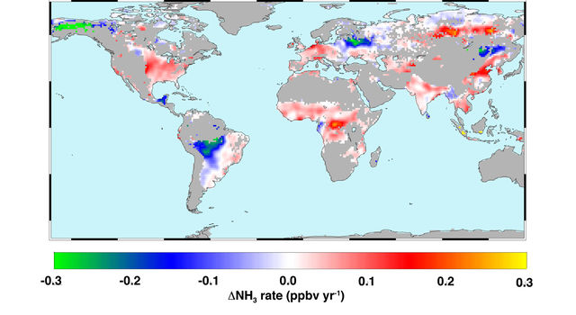 Global atmospheric ammonia trends measured from space from 2002 to 2016.