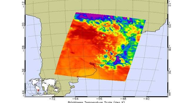 A representative image depicting the type of preview data available to Atmospheric Infrared Sounder users.