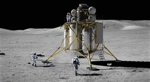 Artist concept of crew members near lunar lander