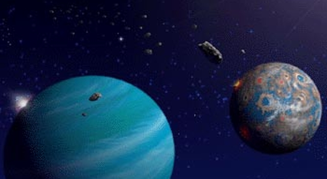 artist's concept of planets and asteroids
