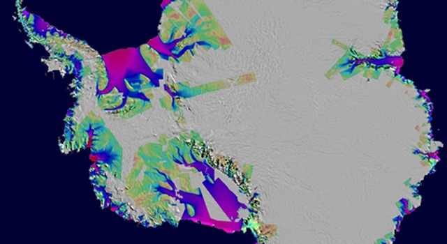 Antarctica showing ice loss between 1996 and 2005