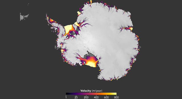 The flow of Antarctic ice