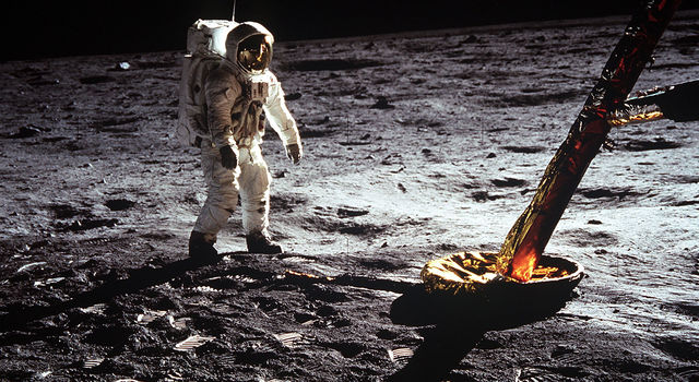 Astronaut Edwin E. Aldrin Jr., lunar module pilot, walks on the surface of the Moon