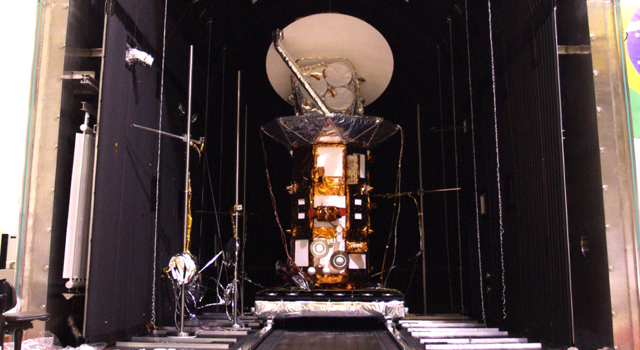 The joint U.S. and Argentine Aquarius/SAC-D spacecraft is prepped for thermal vacuum chamber tests at Brazil's National Institute for Space Research.