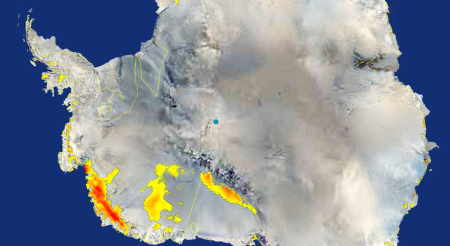NASA's QuikScat satellite detected extensive areas of snowmelt, shown in yellow and red, in west Antarctica in January 2005.