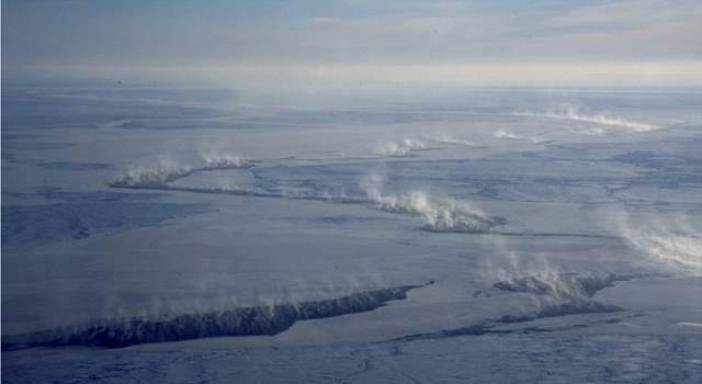 Cloud plumes from cracks of open water in the Arctic sea ice cover.