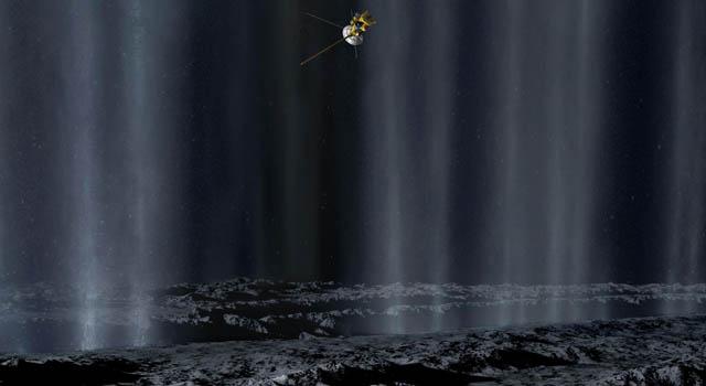 artist concept of jets on Enceladus, Image copyright: Karl Kofoed