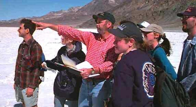 Professor Arvidson with students in the Mojave Desert.