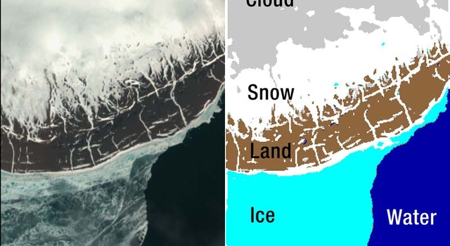 On the left, Resolute Bay seen from Earth Observing-1. On the right, a visual representation of the analysis done by JPL's Autonomous Sciencecraft Experiment software.