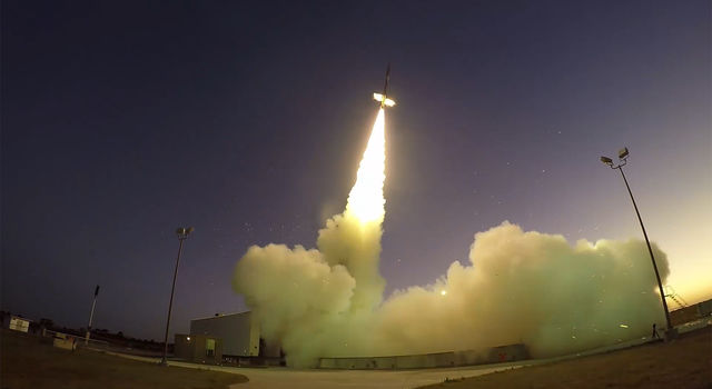 58-foot-tall Black Brant IX sounding rocket launches from NASA's Wallops Flight Facility