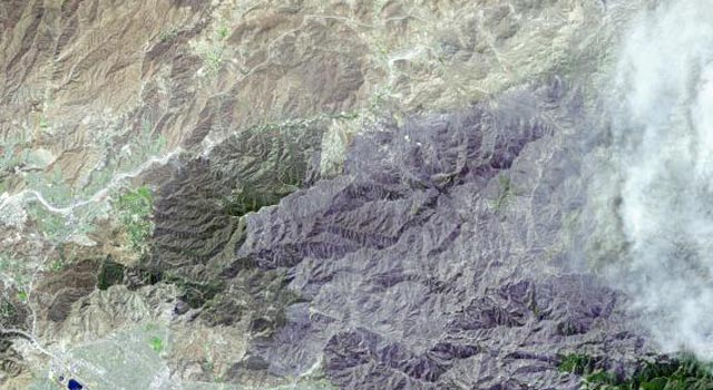 Image shows the extent of devastation from the Station fire burning near Los Angeles