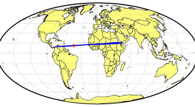 Global map depicting possible impact locations of asteroid 2014 AA