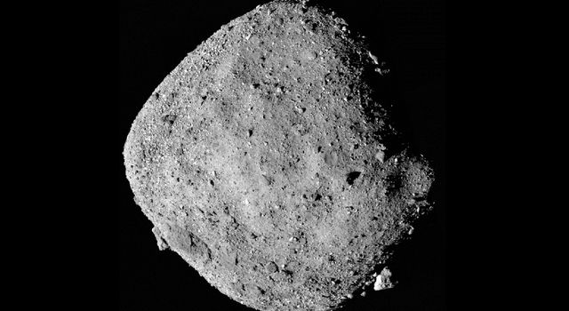 This mosaic image of asteroid Bennu is composed of 12 images collected on Dec. 2, 2018