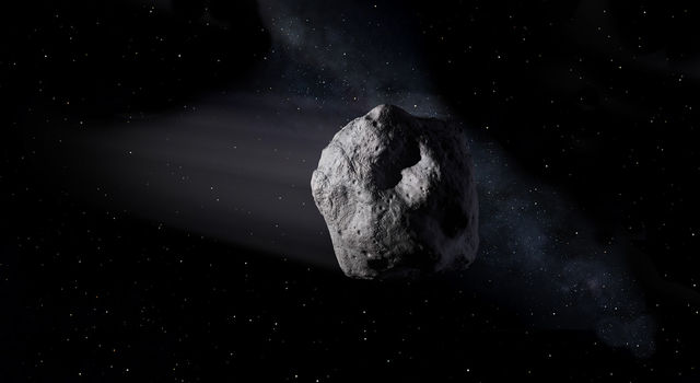 This illustration shows a near-Earth asteroid