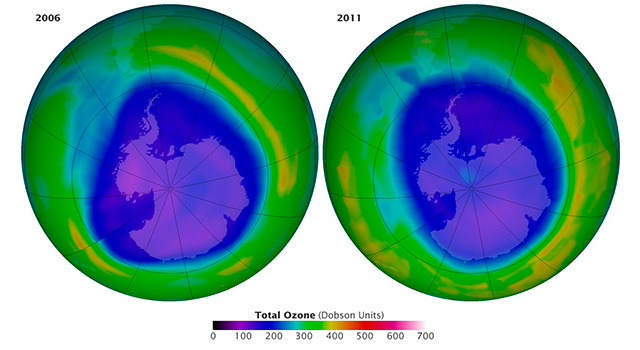 The maps show the Antarctic ozone hole on September 16 in 2006 and 2011