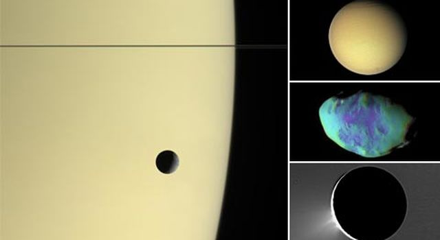 Saturn with Tethys,  and in the larger view, Titan, Telesto and Enceladus