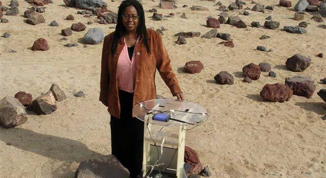 Dr. Ayanna Howard with a SmartNav rover