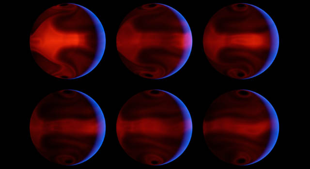 computer-generated images chart the development of severe weather patterns on the exoplanet
