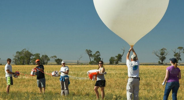 A team from Montana State University (MSU) prepares to launch a high-altitude balloon