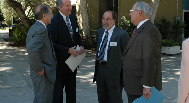 From left: JPL Director Dr. Charles Elachi, La Canada-Flintridge Mayor Greg Brown, and Dr. Baltimore