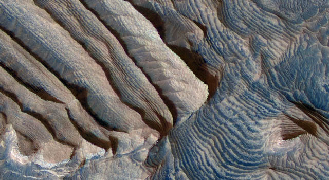 Rhythmic bedding in sedimentary bedrock within Becquerel crater on Mars