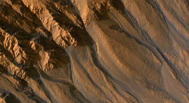 gully channels in a crater in the southern highlands of Mars