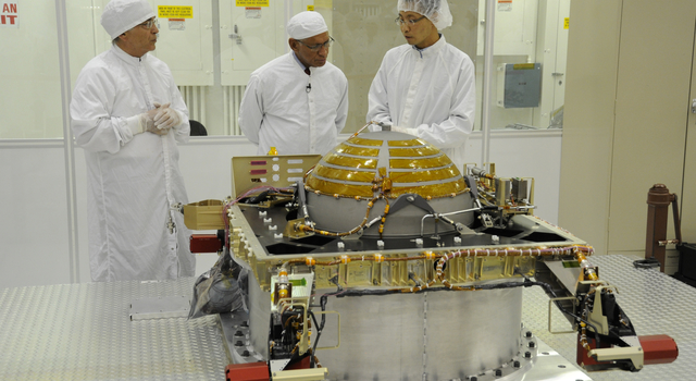 Administrator Charles Bolden checks on the progress of SMAP while visiting NASA's Jet Propulsion Laboratory