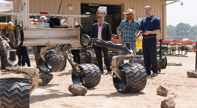 NASA Administrator Jim Bridenstine viewed one of two test rovers