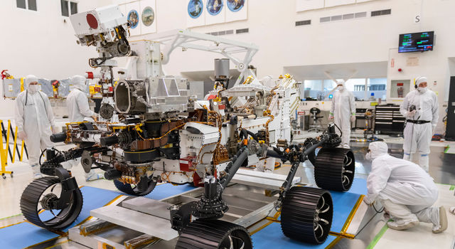 In a clean room at NASA's Jet Propulsion Laboratory in Southern California, engineers observed the first driving test for NASA's Mars 2020 Perseverance rover on Dec. 17, 2019