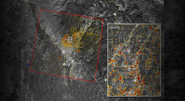 NASA's ARIA team produced this map of damage to Paradise, California, from the Camp Fire