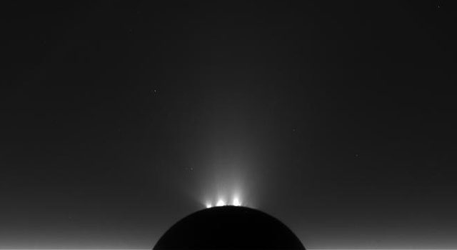 An unprocessed image of Saturn's moon Enceladus