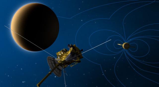 Artist's concept of Cassini's Titan flyby